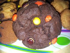 Chocolate Cake Reese's Pieces Cookies! Easy and cheap recipe I found on The Frugal Girls website. Here's how I made them!