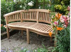 Curved Outdoor Benches with Cushions | Contemporary Curved Teak Garden Bench