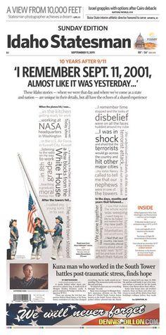 9/11 Newspaper Tributes: Idaho Statesman, Boise, Idaho, Sept. 11, 2011. (Photo: Newseum.org)