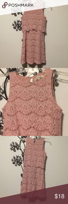 Lampshade Pink Lace Dress Light pink lace lampshade dress. A few strings from the edges of the lace are hanging, but this doesn't affect the wear! An adorable dress :) Monteau Dresses
