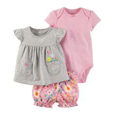 Baby Girl Carter's 3-pc. Diaper Cover Set, Light Grey