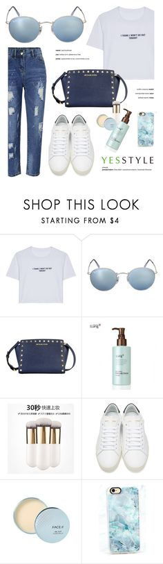 """""""YESSTYLE.com"""" by monmondefou ❤ liked on Polyvore featuring WithChic, Ray-Ban, Yves Saint Laurent, Casetify, Flore, Beauty and yesstyle"""