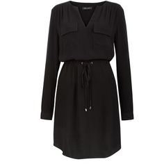 Black Roll Sleeve Shirt Dress (625 MXN) ❤ liked on Polyvore featuring dresses, black, black dress, shirt-dress, drawstring waist dress, long black shirt dress and black pocket dress