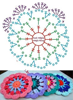 Motif Mandala Crochet, Crochet Coaster Pattern, Granny Square Crochet Pattern, Crochet Granny, Crochet Doilies, Crochet Flowers, Crochet Stitches, Crochet Patterns, Diy Crochet