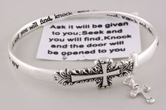 Silver Cross Bracelet, Scriptural, Ask and it shall be given you, Bible Verse WT, http://www.amazon.com/dp/B0056ZSQPA/ref=cm_sw_r_pi_dp_e7FTqb1N8C2B4