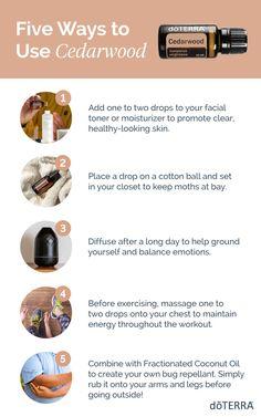 Cedarwood Essential Oil Uses, Essential Oils For Skin, Young Living Essential Oils, Essential Oil Blends, Doterra Cedarwood, Oil Benefits, Doterra Essential Oils, Natural Cosmetics, Wood Oils