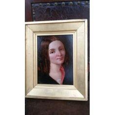 Dipinto olio su cartone - ritratto giovane donna - Inghilterra - '800