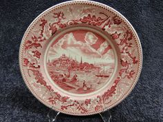 """Johnson Brothers Historic America Pink Red Dinner Plate 10"""" View of Boston in Pottery & Glass, Pottery & China, China & Dinnerware 