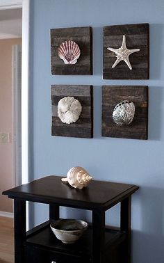 Beach Decor on driftwood panel . Set of 4. 10x10 each. Living Room Art for behind sofa under transom window in line. $89.00