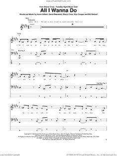 Crow - All I Wanna Do sheet music for bass (tablature) (bass guitar) Bass Guitar Sheet Music, Bass Guitar Notes, Bass Clarinet, Digital Sheet Music, Sheryl Crow, Music Sheets, Sebastian Bach, How To Become, Tablature