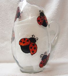 Upcycled Ladybug Pitcher Serving Pitcher Glass by cjscraftycorner2, $20.00