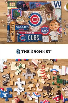 MLB, College, & NFL Sports team puzzles. Celebrate your favorite team through the years with this retro puzzle. Packed full of memorabilia, vintage programs, bobbleheads, and other classic items. Dads and husbands will love this for Father's Day! Great for the dad who love their sport team.    To name a few: Cardinals, Red Sox, Cubs, Tigers, Dodgers, Minnesota Twins, Giants, Dolphins, Falcons, Yankees, 49ers, Jets, Giants, Rams, Vikings, Steelers, Patriots, Cardinals, Astros, & More. Double Stroller For Twins, Movie Night Gift Basket, Best Baby Carrier, Great Father's Day Gifts, Minnesota Twins, Gifts For New Parents, Nfl Sports, Bobble Head, Chicago Cubs
