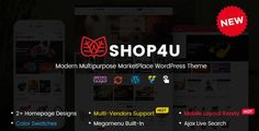 Shop4U - Modern MarketPlace WordPress Theme with Mobile Specific Layout!.Shop4U is a clean, modern & multi-functional marketplace WordPress theme that is developed with the latest HOT features. Also, this is a multi-purpose theme for any marketplace or online store, especially for furniture/interior and digital websites.With unique homepage designs, mobile layout ready, multi-vendor marketplac... Homepage Design, Blog Layout, Color Swatches, Wordpress Theme, Purpose, Typography, Digital, Amp, Store
