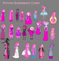 Princess Bubblegum from Adventure Time and her many different outfits :)
