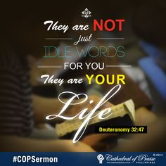 "Deuteronomy 32:47 ""They are not just idle words for you--they are your life. By them you will live long in the land you are crossing the Jordan to possess."""