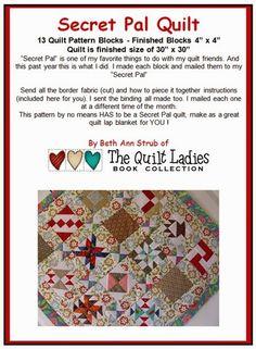 Secret Pal Quilt Pattern Book