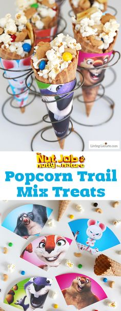 An easy popcorn trail mix recipe served in waffle cones is the perfect treat! Free printable ice cream cone wrappers in celebration of The Nut Job 2 movie in theaters August 11. Cute party treat idea for kids! #TheNutJob2 #sponsored