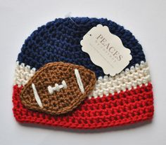 Toddler Hats - New England Patriots Toddler Football Beanie Hat (Kids Hats Child Hats Child Gift Kid Beanies Crochet Hat Toddler Beanies) Newborn Beanie, Baby Beanie Hats, Crochet Hats For Boys, Crochet Baby Hats, Crochet Cap, Cute Crochet, Toddler Football, Kids Beanies, Crochet Projects