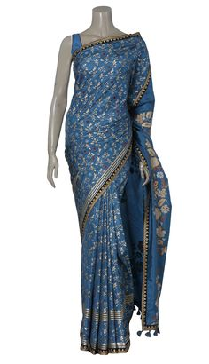 Teal Blue and Golden Printed and Embroidered Silk Saree