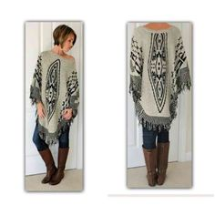 Beautiful Aztec poncho OS This is a MUST HAVE piece for fall.  Exceptional quality, NWOT  Aztec Jacquard Poncho  One size (fits S through XL)  100% acrylic  PRICE IS FIRM UNLESS BUNDLED  Sweaters Shrugs & Ponchos