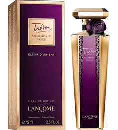 Lancome Tresor Midnight Rose Elixir D'Orient ~ Top notes: raspberry, black currant, pink pepper Heart: rose, jasmine, peony Base: patchouli, cedar, oud, vanilla