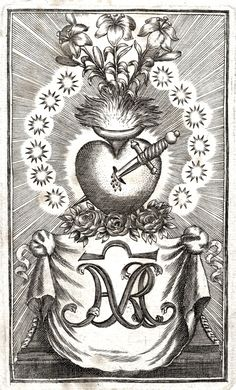 An 18th century engraving of the Immaculate Heart of Mary.