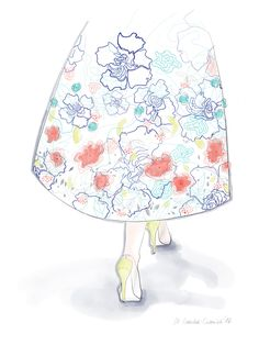 Flower skirt couture Małgorzata Iracka Fashion Illustration