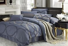 Fashionable Grey Circle Pattern 4 Piece Cotton Bedding Sets with Printing