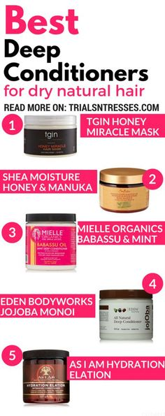 Five great conditioners for dry natural hair. These natural hair care conditioners will decrease dry natural hair and increase volume and flow. Natural Hair Journey, Natural Hair Care Tips, Natural Hair Growth, Natural Hair Styles, Natural Black Hair Products, Products For Dry Hair, 4c Hair Growth, Pelo Natural, Black Hair Care