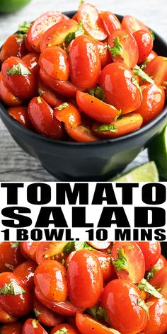 Quick and easy tomato salad recipe that's fresh, healthy, made in one bowl in 10 minutes. It's loaded with parsley, lemon juice and cherry tomatoes. Cherry Tomato Recipes, Cherry Tomato Salad, Tomato Salad Recipes, Best Salad Recipes, Cherry Tomatoes, Snack Recipes, Cooking Recipes, Easy Salads, Healthy Salads