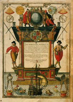 Frontispiece of 'The Mariner's Mirror' (1588) written by Lucas Jansz Waghenaer (1533-1606) by Theodore de Bry - print