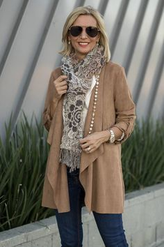 Mixing Fall Neutrals And Rich Textures with our camel faux suede jacket eggshell shirt both of which you can wear to the office or any fun outing Over 60 Fashion, Mature Fashion, Over 50 Womens Fashion, Fashion Over 50, Fashion 2020, Look Fashion, Winter Fashion, Fashion Outfits, Fashion Tips