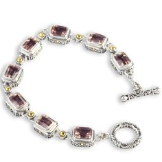 Morganite Sterling Silver Bracelet with 18K Gold Accents | Cirque Jewels
