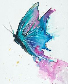 Butterfly in Flight by ReChic Studio - Ideen 1 - Watercolor Butterfly Painting, Butterfly Watercolor, Butterfly Art, Watercolor Cards, Watercolour Painting, Alcohol Ink Art, Beautiful Butterflies, Art Pictures, Art Drawings