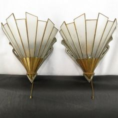 Pair Vintage Art Deco Brass Wall Sconce Electric Lighting with Glass Slip Shades