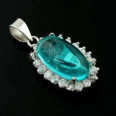 Hot Sale Simple Around Inlay Rhinestone Fashion 925 Sterling Silver With Sea Blue Zircon Pendant
