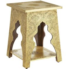 Pier 1 Imports Gold Marrakesh Accent Table (545 BRL) ❤ liked on Polyvore featuring home, furniture, tables, accent tables, gold, jasmine, hand made furniture, marrakesh furniture, gold accent table and colored furniture