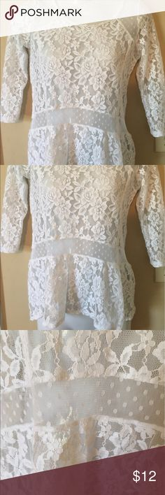 "Hollister Lace Peplum Top Small This is a lace Peplum Top form Hollister in a size small. It is see thru making it a great piece to wear with bandeau bras or colorful tanks.  Pit to pit: 16"". Length: 22"" Hollister Tops Blouses"