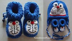 Free Pattern - Doraemon Baby Booties Knitted Pattern