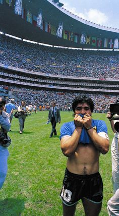 Diego Maradona looks sheepish after Argentina squeaked past England thanks to his two goals in an unforgettable Quarter-Final at the 1986 FIFA World Cup in Mexico. Football Icon, Football Is Life, World Football, Football Soccer, Mexico 86, Mexico City, Soccer World, World Of Sports, American Football