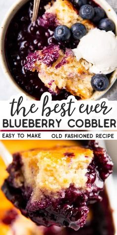 The Best Blueberry Cobbler Make the most of those juicy summer blueberries with this Blueberry Cobbler recipe! It's a quick and easy dessert, perfect with a scoop of ice cream. Blueberry Cobbler Recipes, Fruit Cobbler, Fruit Recipes, Sweet Recipes, Baking Recipes, Easy Blueberry Desserts, Desserts With Blueberries, Blueberry Cobler, Frozen Blueberry Recipes