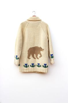 50s/60s Bear Cowichan Sweater  Vintage Bear by DissidentVintage, $110.00