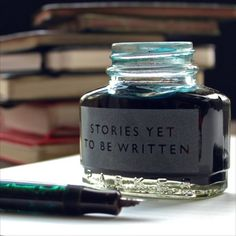 stories yet to be written etched vintage ink bottle - for the writer you love!