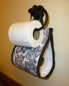 lovely idea single post toilet paper holder. Fabric Toilet Paper Holder  Spare Roll Black Gray White Floral Pattern Washable Cotton Blue