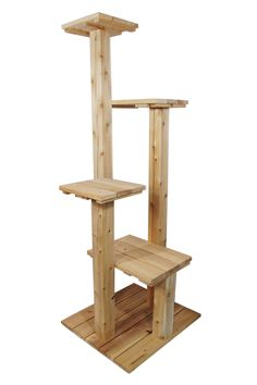 Cedar & Cypress Outdoor Cat Tree. Six feet, four levels.
