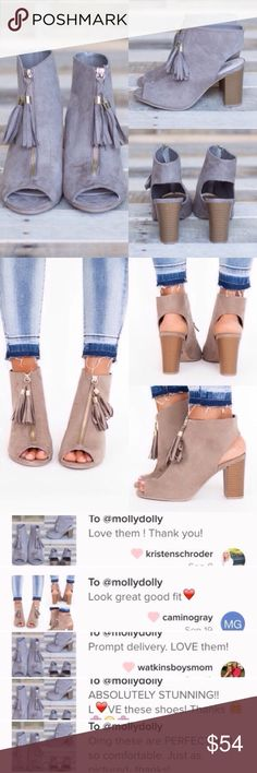 """❣️7, 8.5, 9❣️ Fringe Tassel Block Bootie Adorable booties! Perfect for the transition from winter to spring! Sizes 5.5-10. 3.5"""" block heel. Perfect for the office or for outings! So versatile and fashionable! The shoe color is TAUPE! They're both the same shoe in different lighting. They are all the actual ittem! It's more taupe than gray. RUNS VERY TRUE TO SIZE. Shoes Ankle Boots & Booties"""