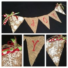 Burlap Christmas Banner  Joy by BHoweryCreations on Etsy, $25.00