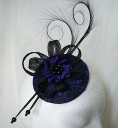 Black & Purple Lace Covered Isadora Curl Feathers and Pearl Gothic Halloween Fascinator Mini Hat