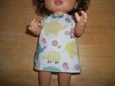 Baby 12 inch Alive doll handmade dress off white with elephants on it by sue18inchdollclothes on Etsy