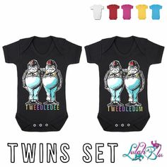 Tweedledee & Tweedledum Twins Gift Set, buy this today from Lulah Blu Clothing number one for printed baby grows online. Funky baby grows newborn to 2 year old. Twin Babies, Twins, New Mummy, Newborn Baby Gifts, Second Baby, Baby Grows, Cotton Shorts, Daddy, Short Sleeves